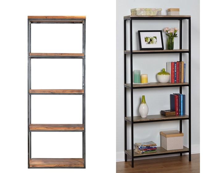 metal to wood bookshelf