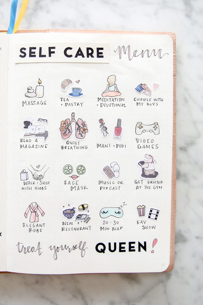 self care bullet journal page